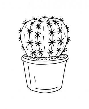 Vector hand drawn doodle sketch outline cactus in pot isolated on white background icon