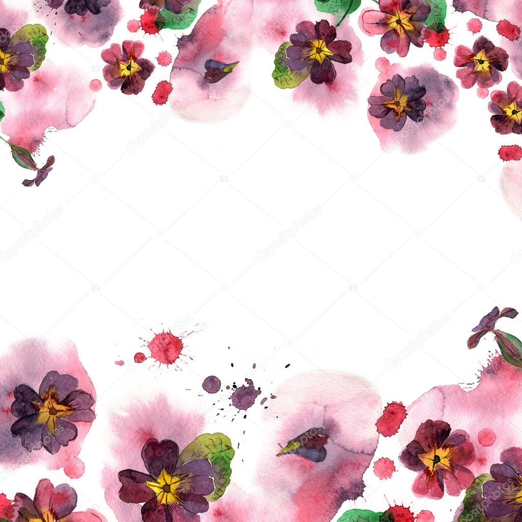 Colorful Watercolor Flower Border Background With Purple Petunias