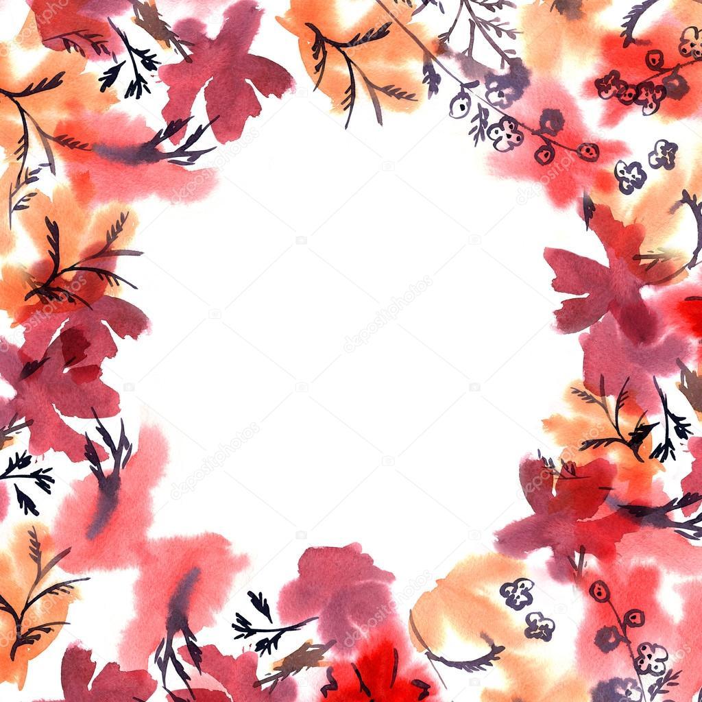 Marco de flor Linda acuarela. Fondo con acuarela flores rojas ...
