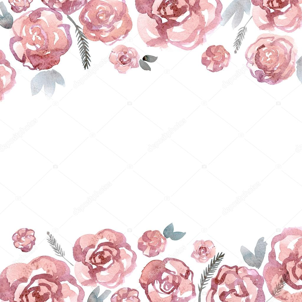 Cute Watercolor Flower Border With Pink Roses Invitation Wedding Card Birthda Stock