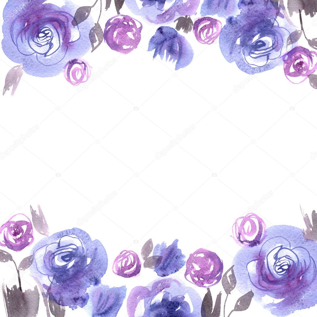 Cute watercolor flower background with blue roses invitation cute watercolor flower background with blue roses invitation wedding card bir stock stopboris Gallery