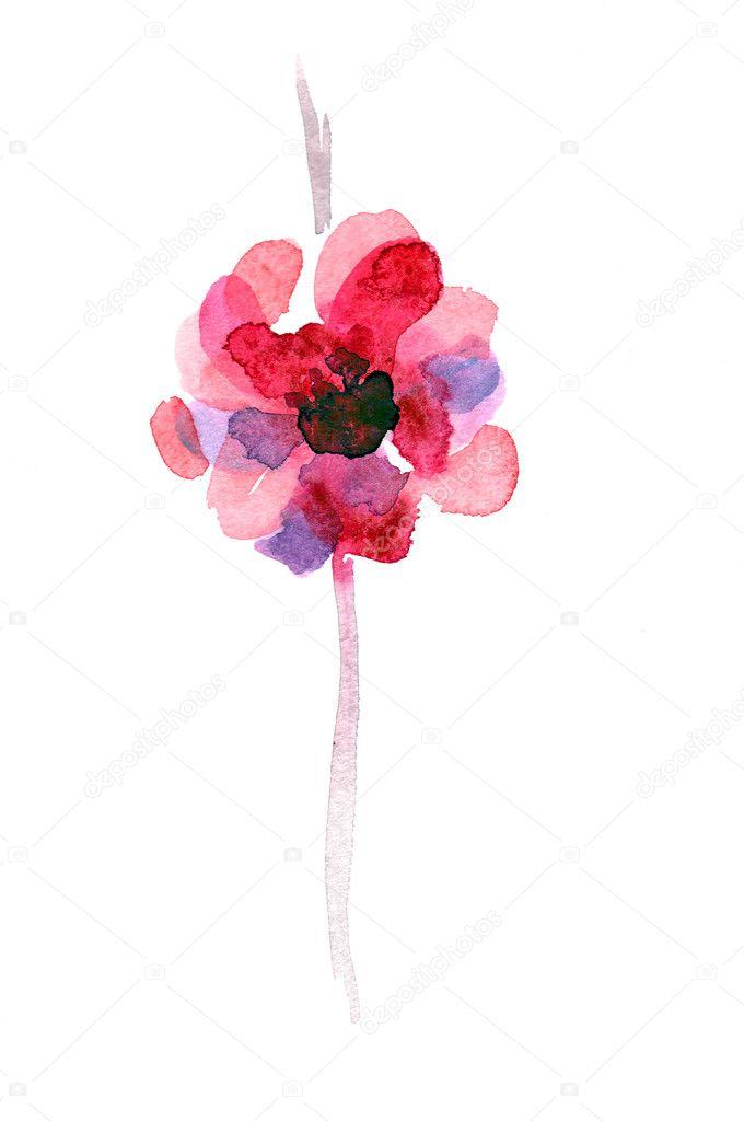 Aquarell Hand gezeichnete abstrakte Blume — Stockfoto ...