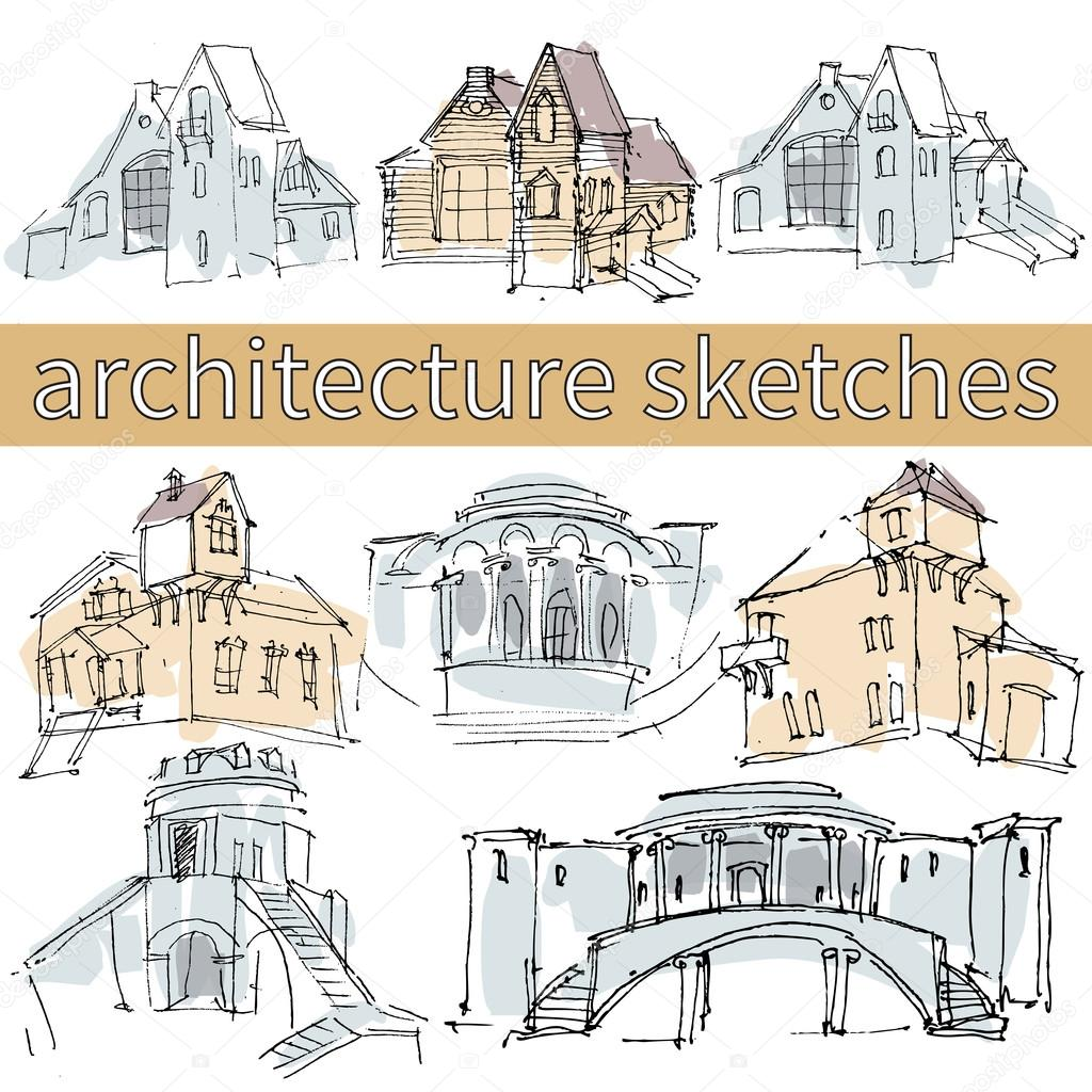 architecture houses sketch. Delighful Sketch Hand Drawn Architecture Sketches With Houses Bridge Columns U2014 Stock Vector In Architecture Houses Sketch