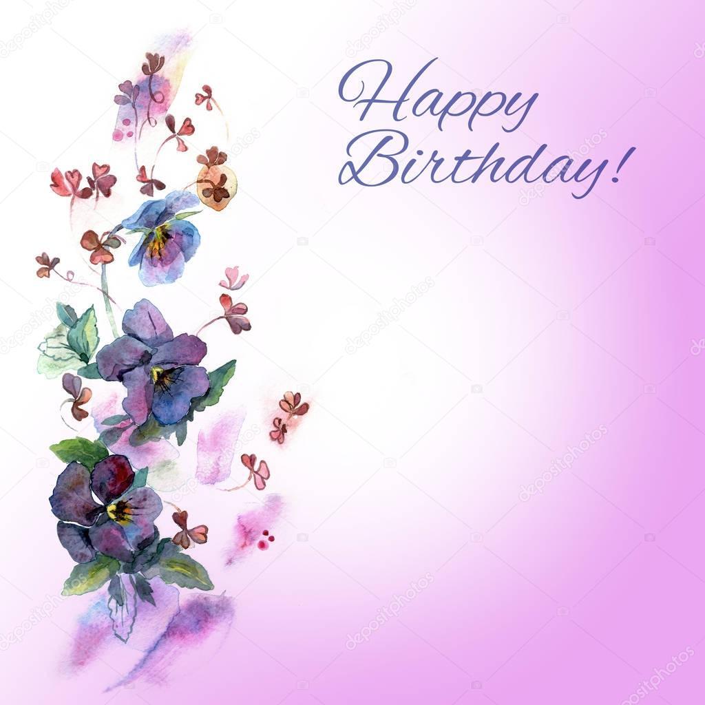 födelsedagskort mail Söt akvarell födelsedagskort med blå penséer — Stockfotografi  födelsedagskort mail