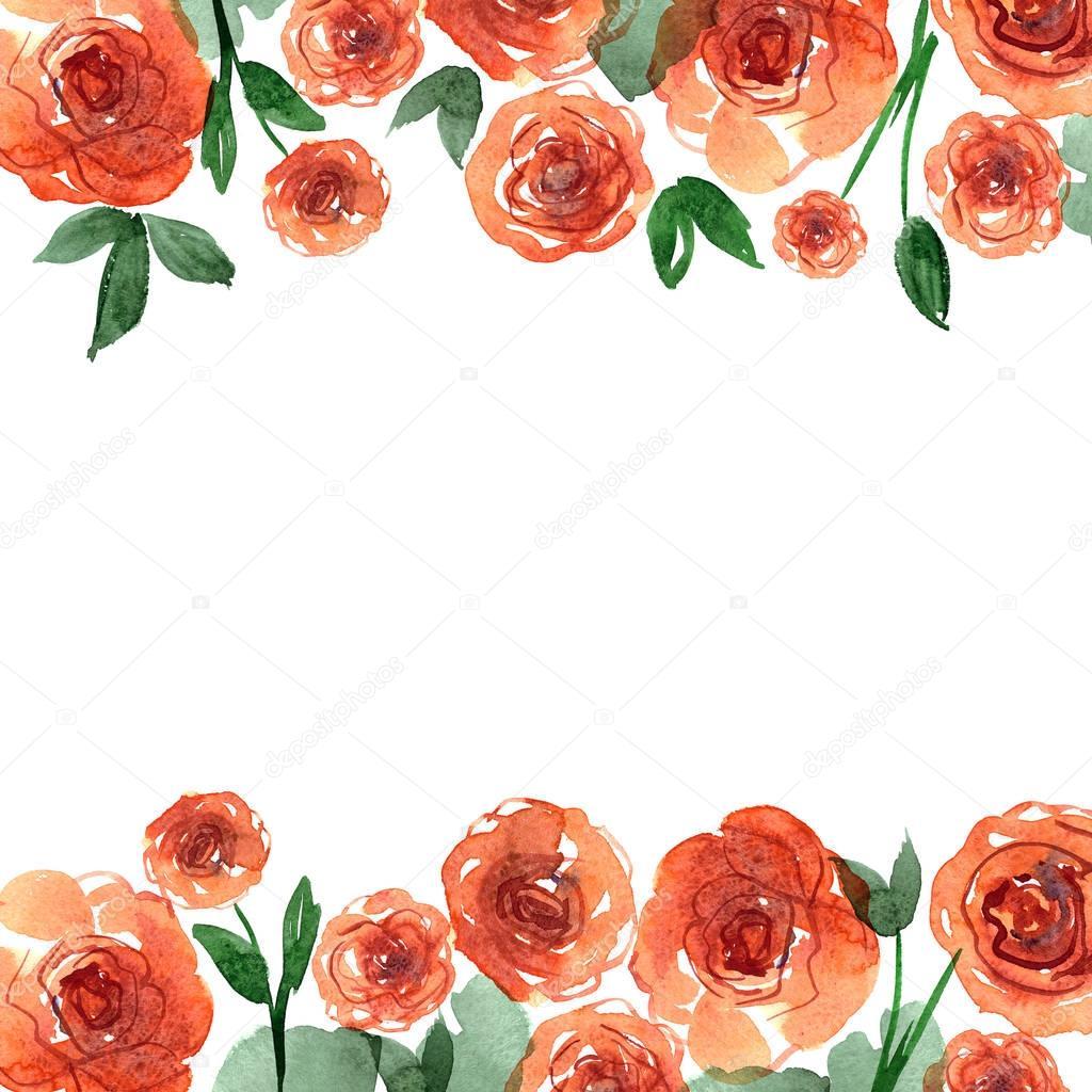 Cute Watercolor Flower Border Background With Orange Roses Invitation Wedding Card Birthday Photo By Efremova Farmmailru