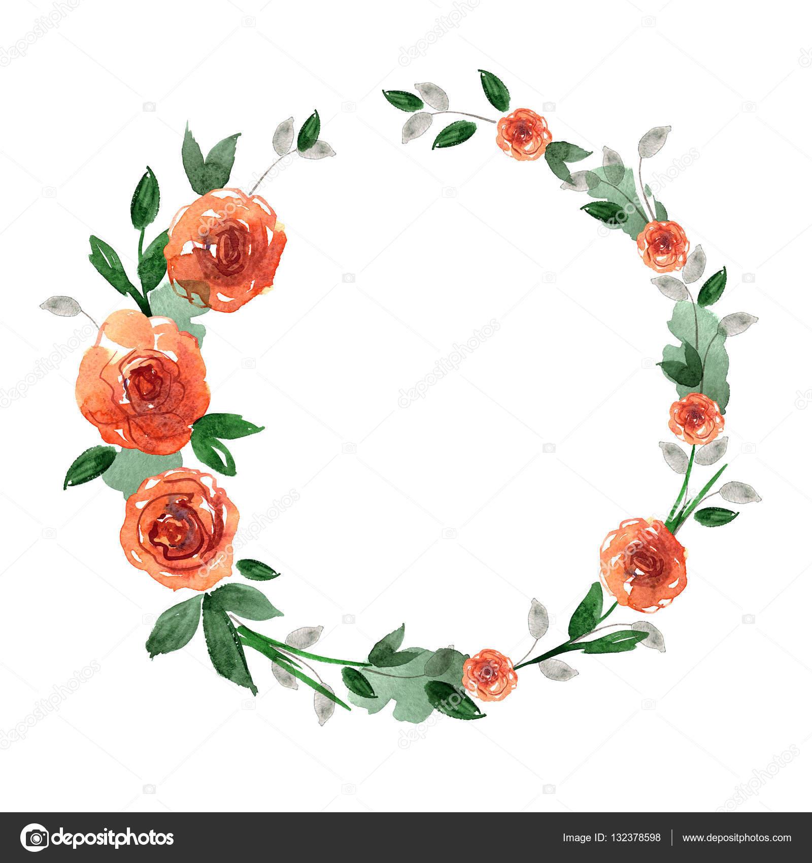 Marco de flor Linda acuarela. Fondo con rosas naranjas — Fotos de ...
