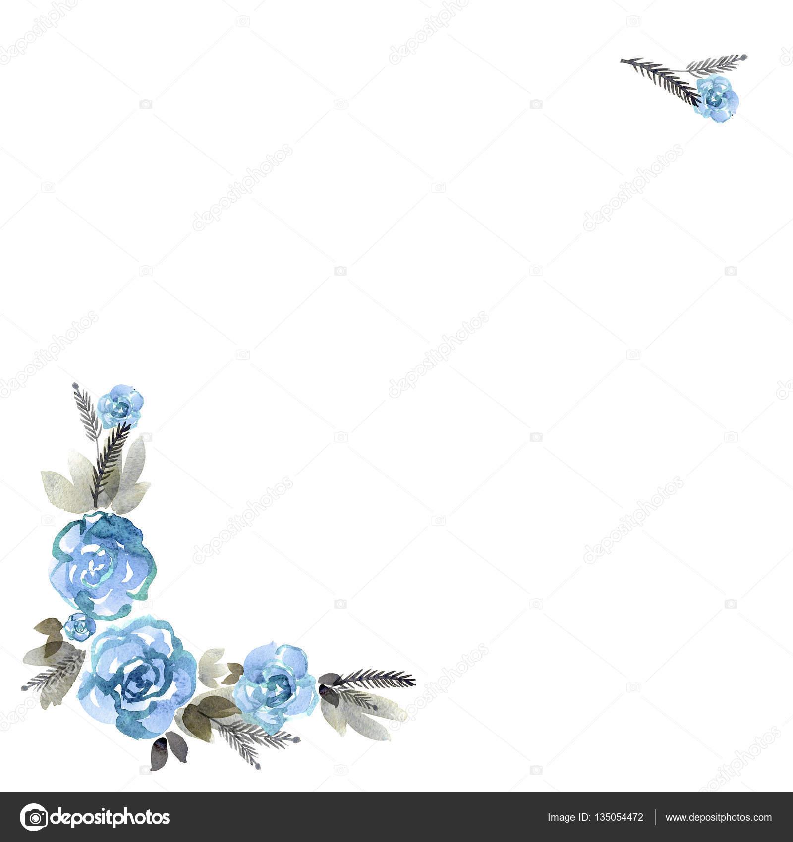 Lindo mano acuarela pintado marco flor — Foto de stock ...