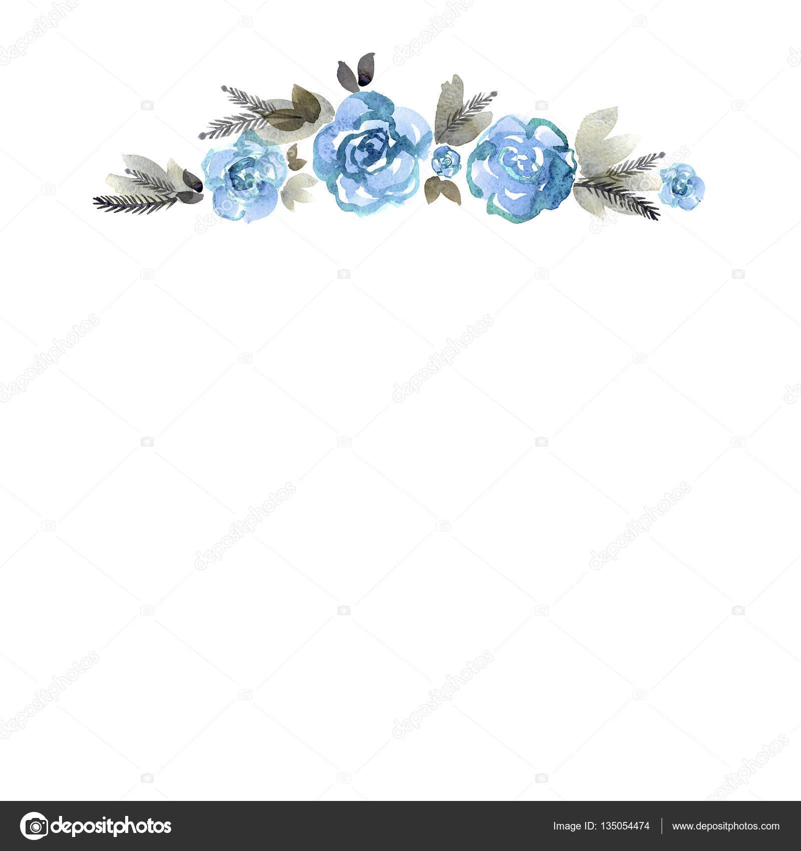 Lindo mano acuarela pintado marco flor — Fotos de Stock ...