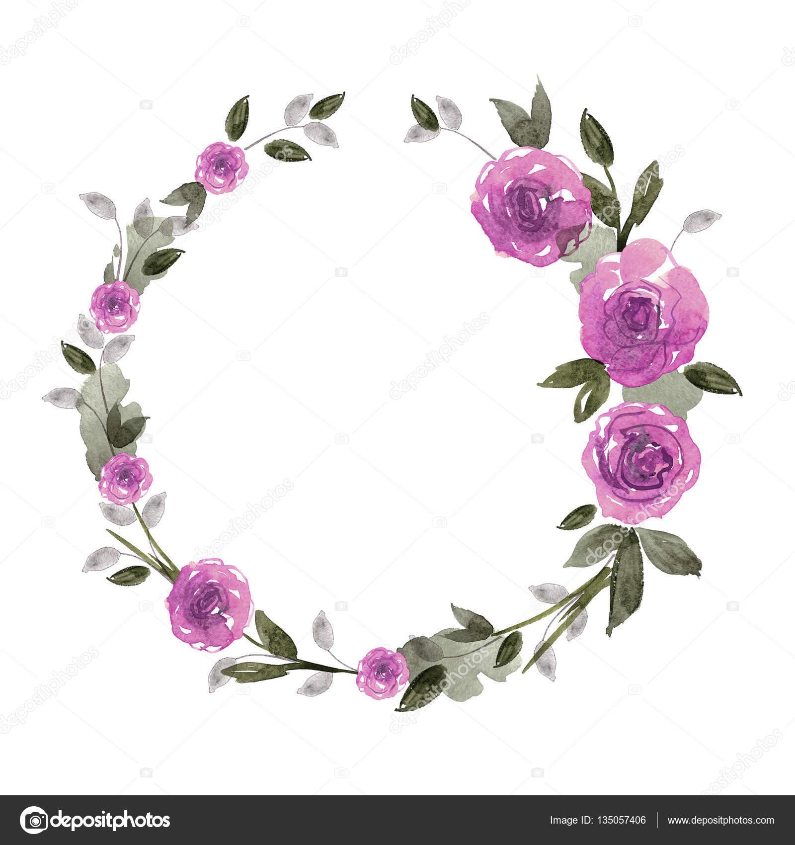 Marco de flor Linda acuarela. Fondo con rosas púrpura — Fotos de ...