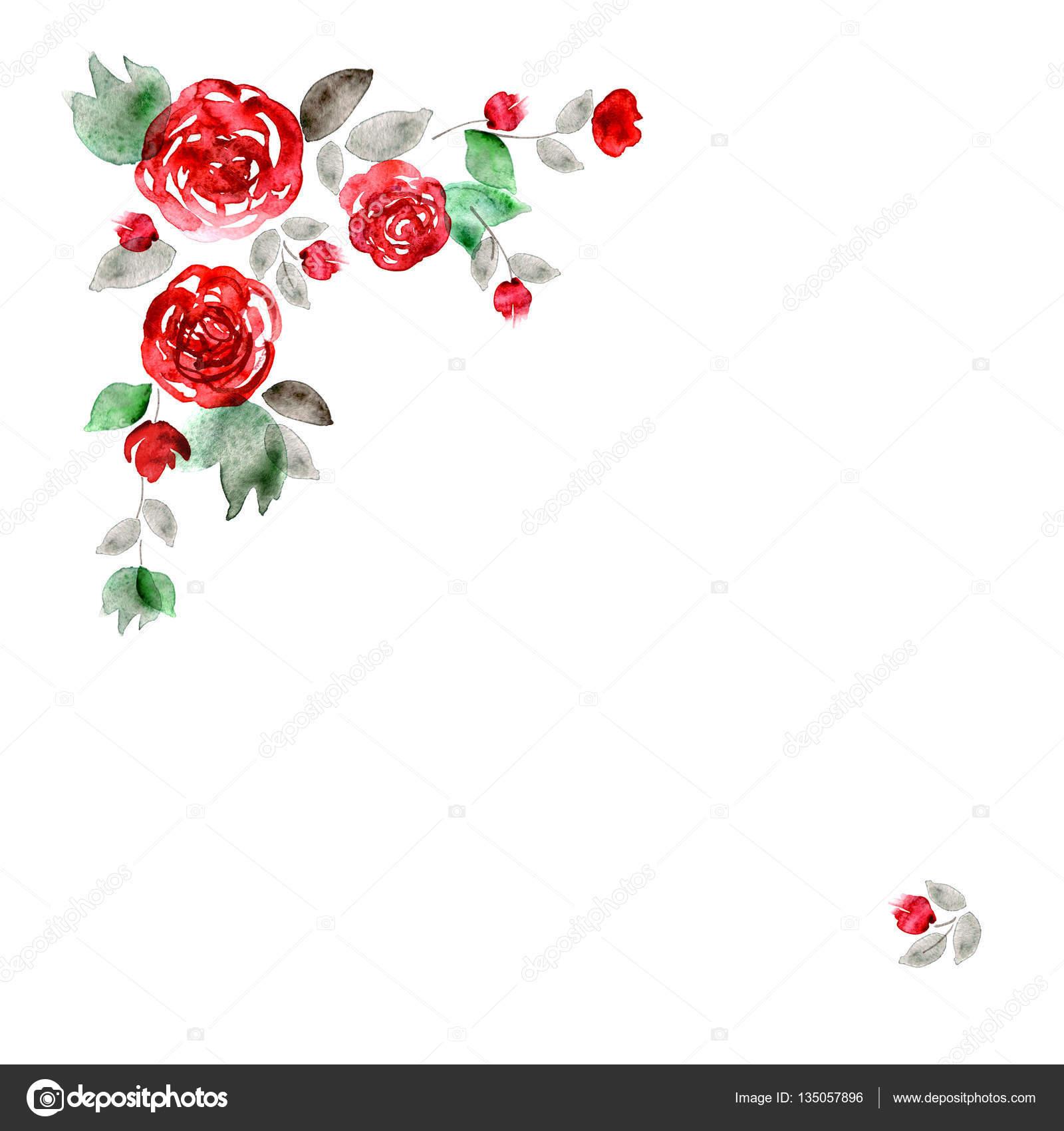 Marco de flor Linda acuarela. Fondo rosas rojas — Foto de stock ...