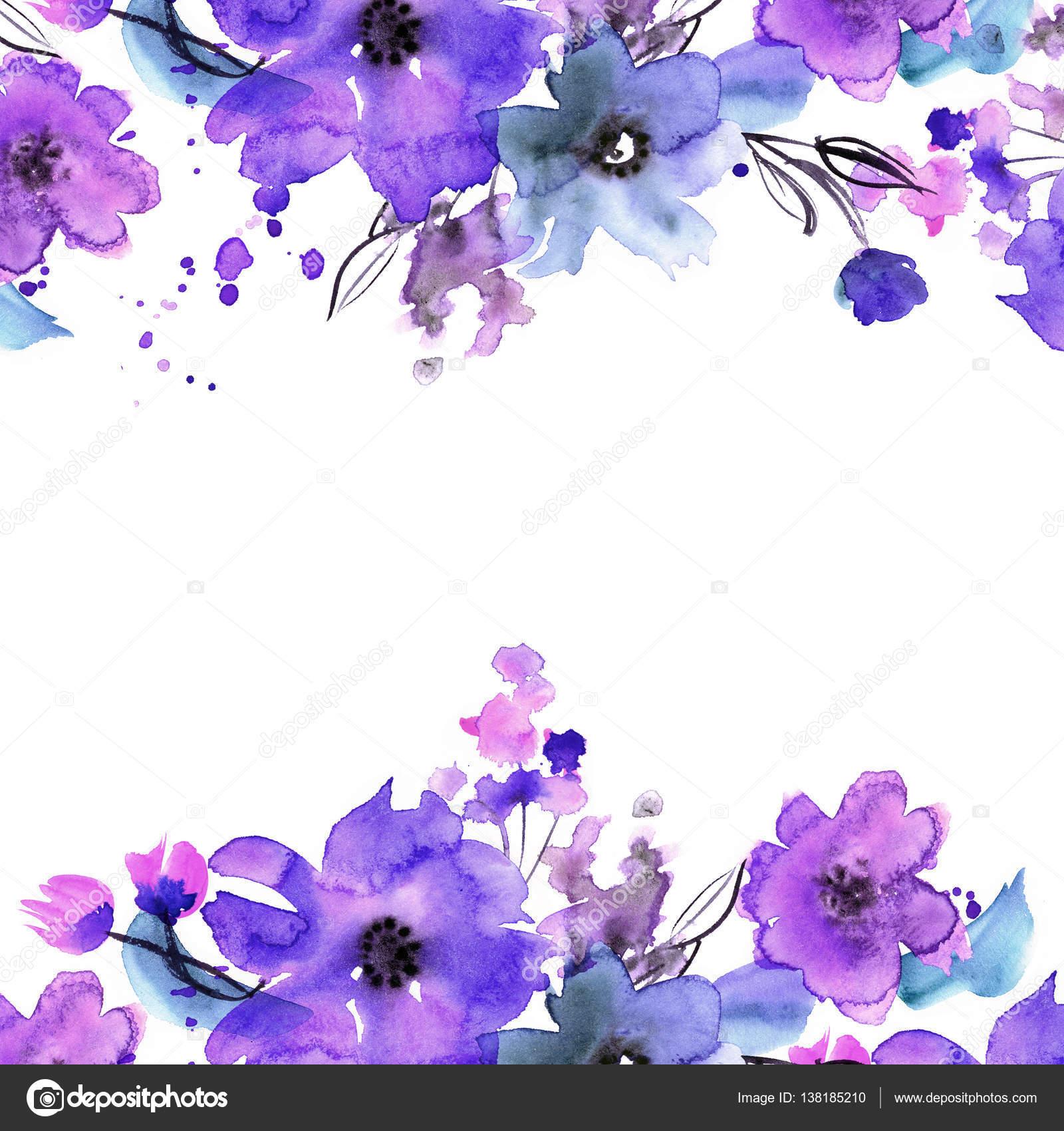 Marco de flor Linda acuarela — Fotos de Stock © efremova_farm.mail ...