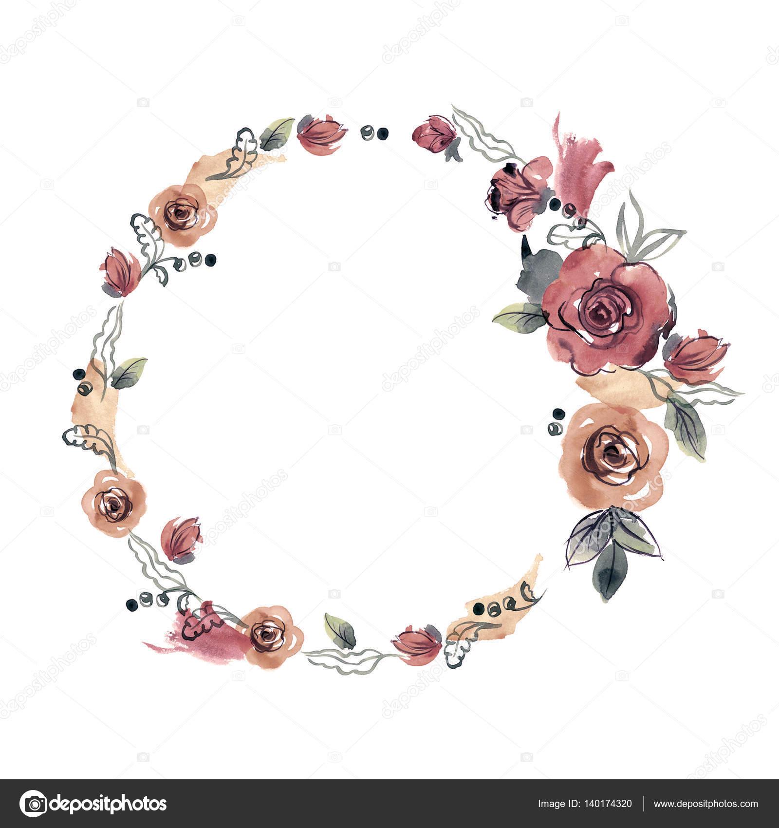 Marco de flor Linda acuarela. Rosas — Fotos de Stock © efremova_farm ...