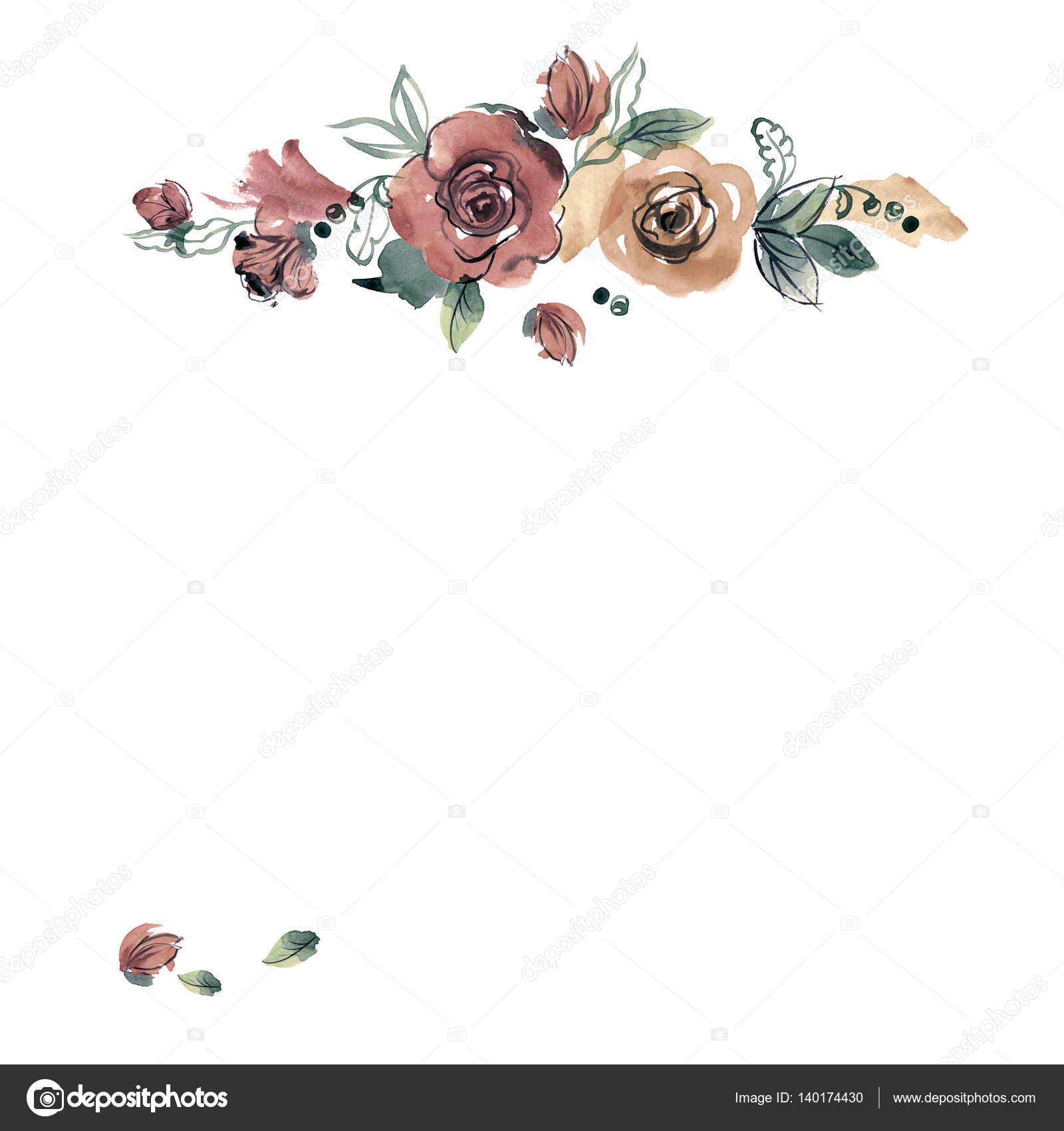 Marco de flor Linda acuarela. Rosas — Foto de stock © efremova_farm ...