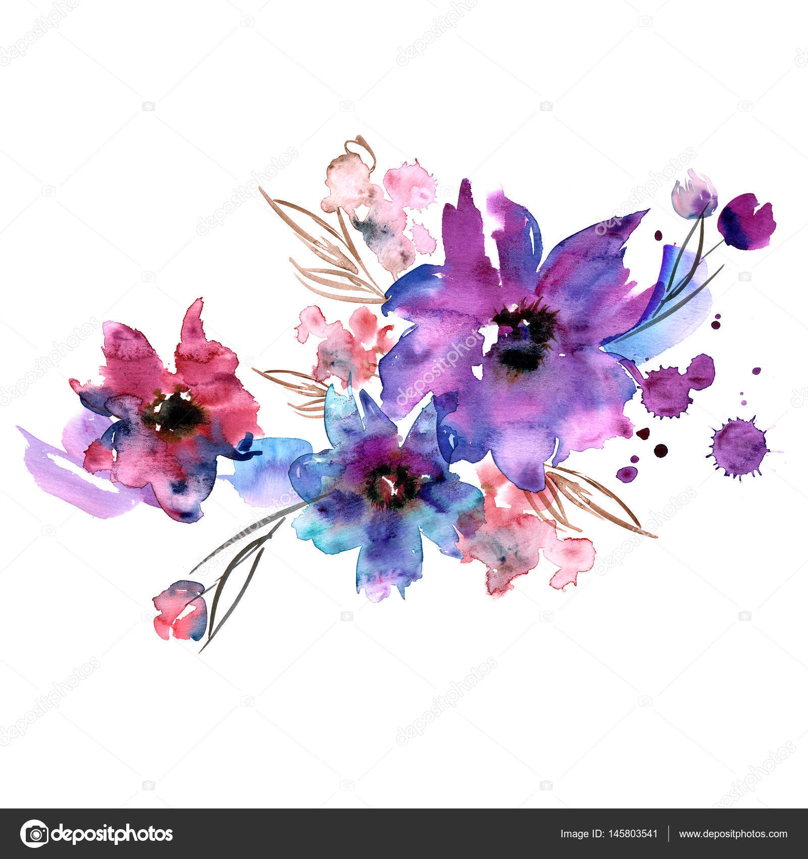 cute watercolor hand painted flowers stock photo efremova farm