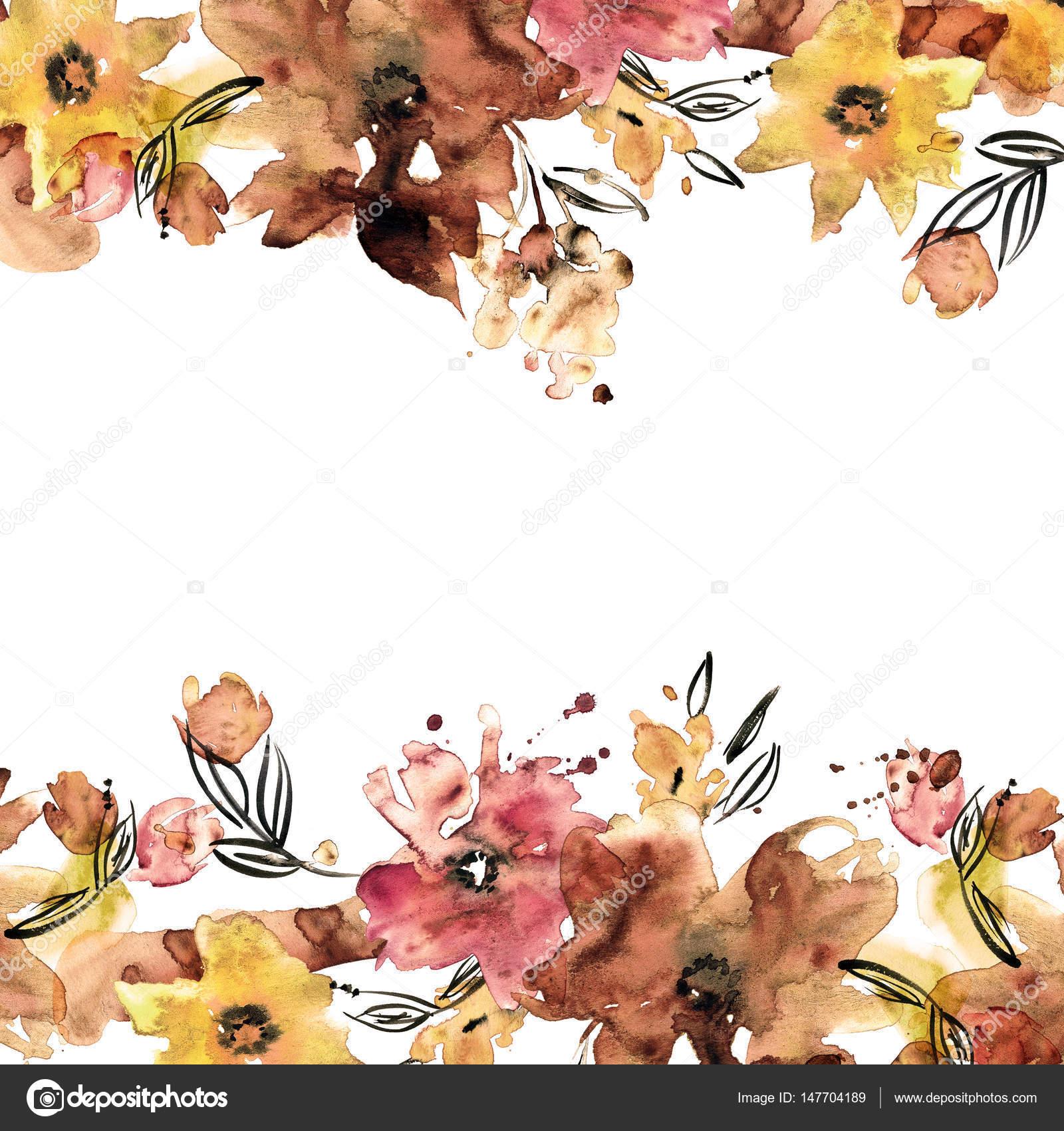 Marco de flor Linda acuarela. Mano — Foto de stock © efremova_farm ...