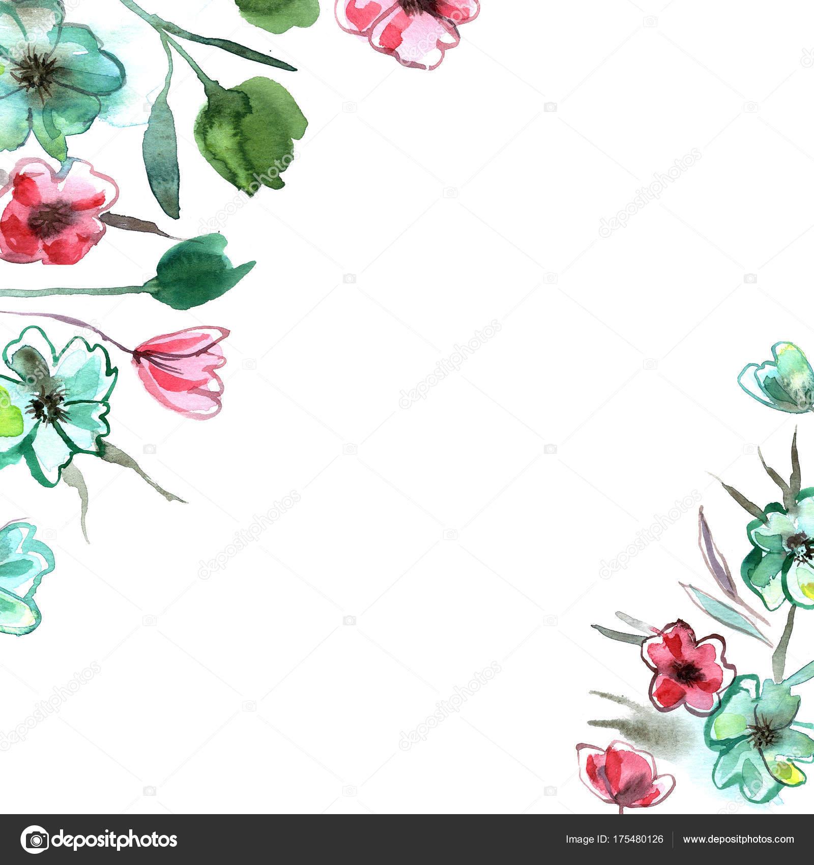 Aquarell handgemalte elegante Blüten in rosa und grünen Farben ...