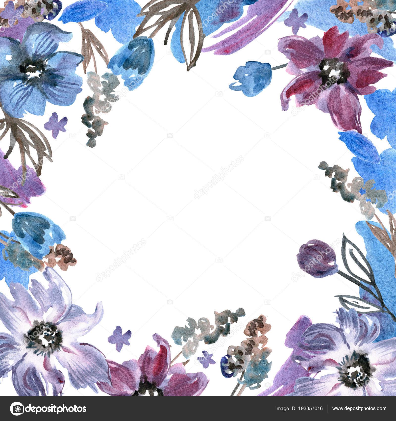 Marco Lindo Acuarela Flor Morada Fondo Floral Pintado A