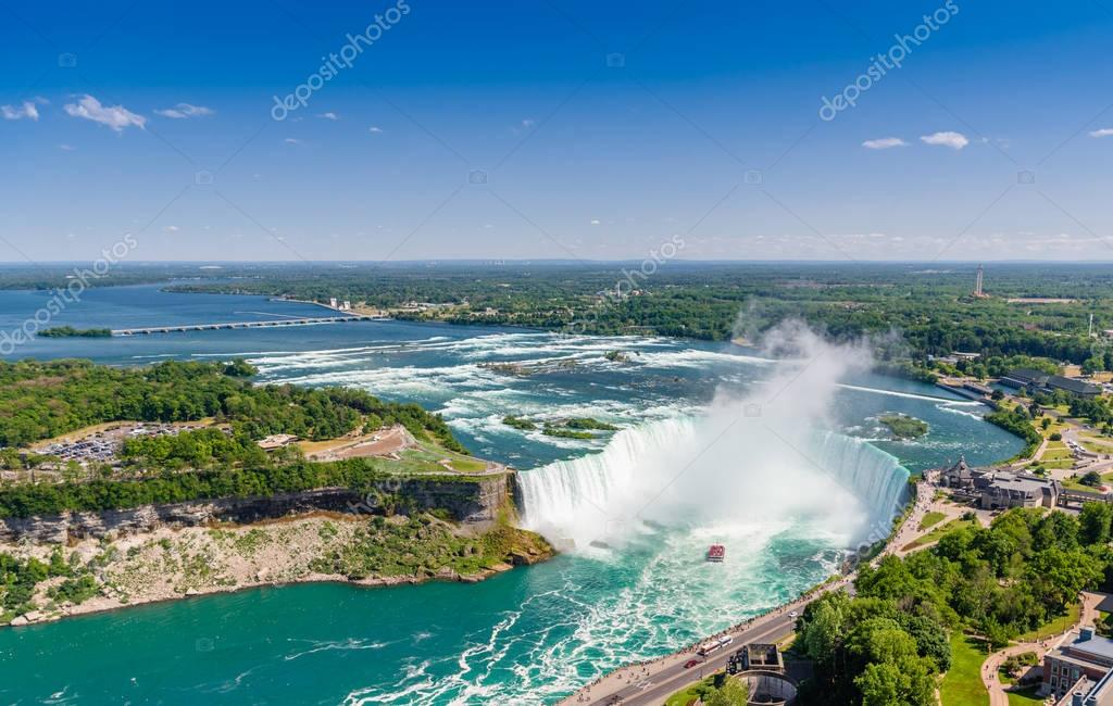 Aerial view of Niagara horseshoe falls. Ontario Canada