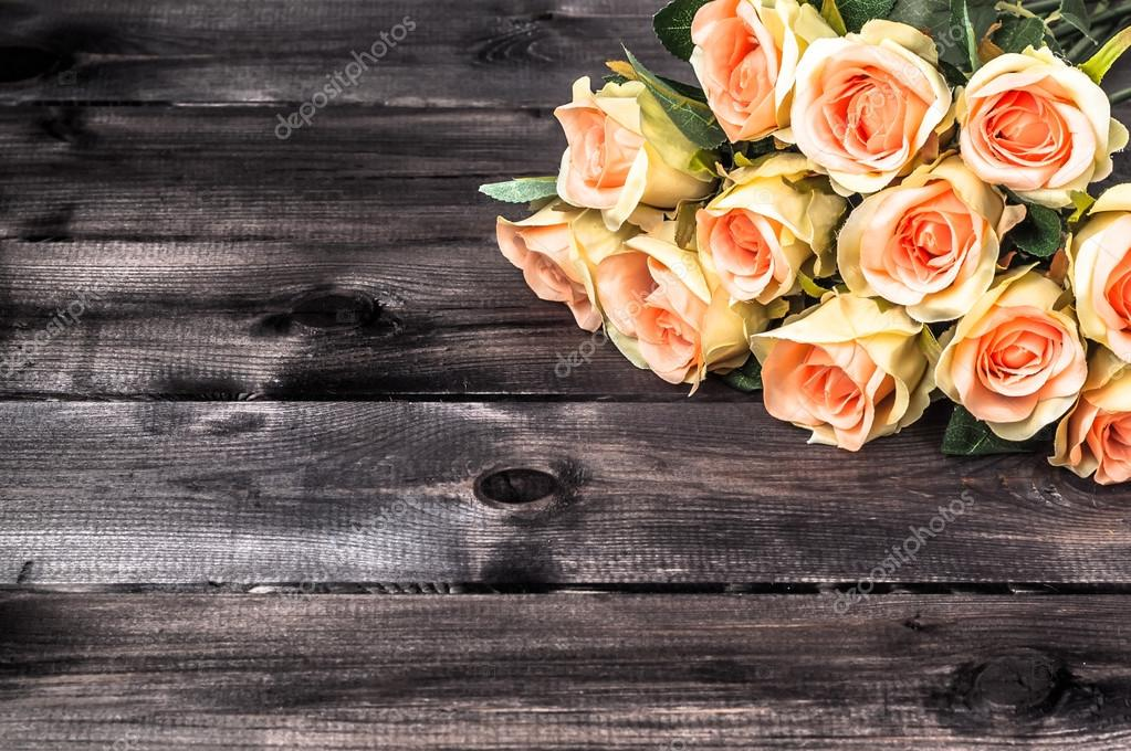 Valentines Roses On Rustic Wood Background Flowers Backgrounds Stock Photo