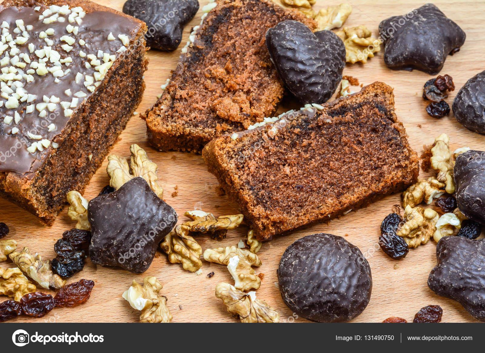 Weihnachten Lebkuchen Schokolade Kuchen Backen Konzept Ansicht