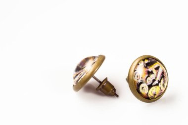 Vintage earrings isolated on white background