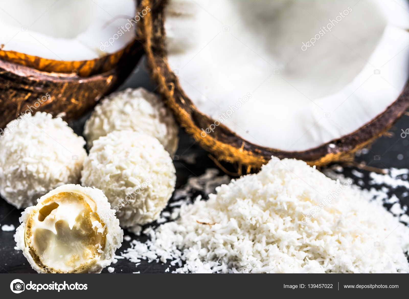 Fresh coconut and coconut sweets — Stock Photo © alicjane
