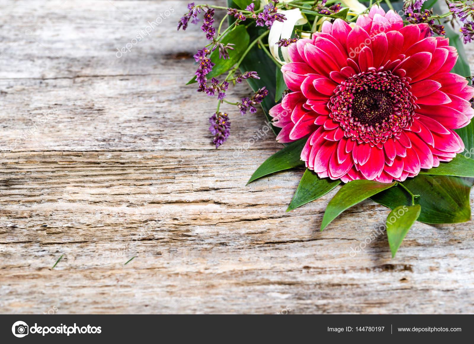 Flor de gerbera, tarjeta de marco para el día de las madres — Fotos ...