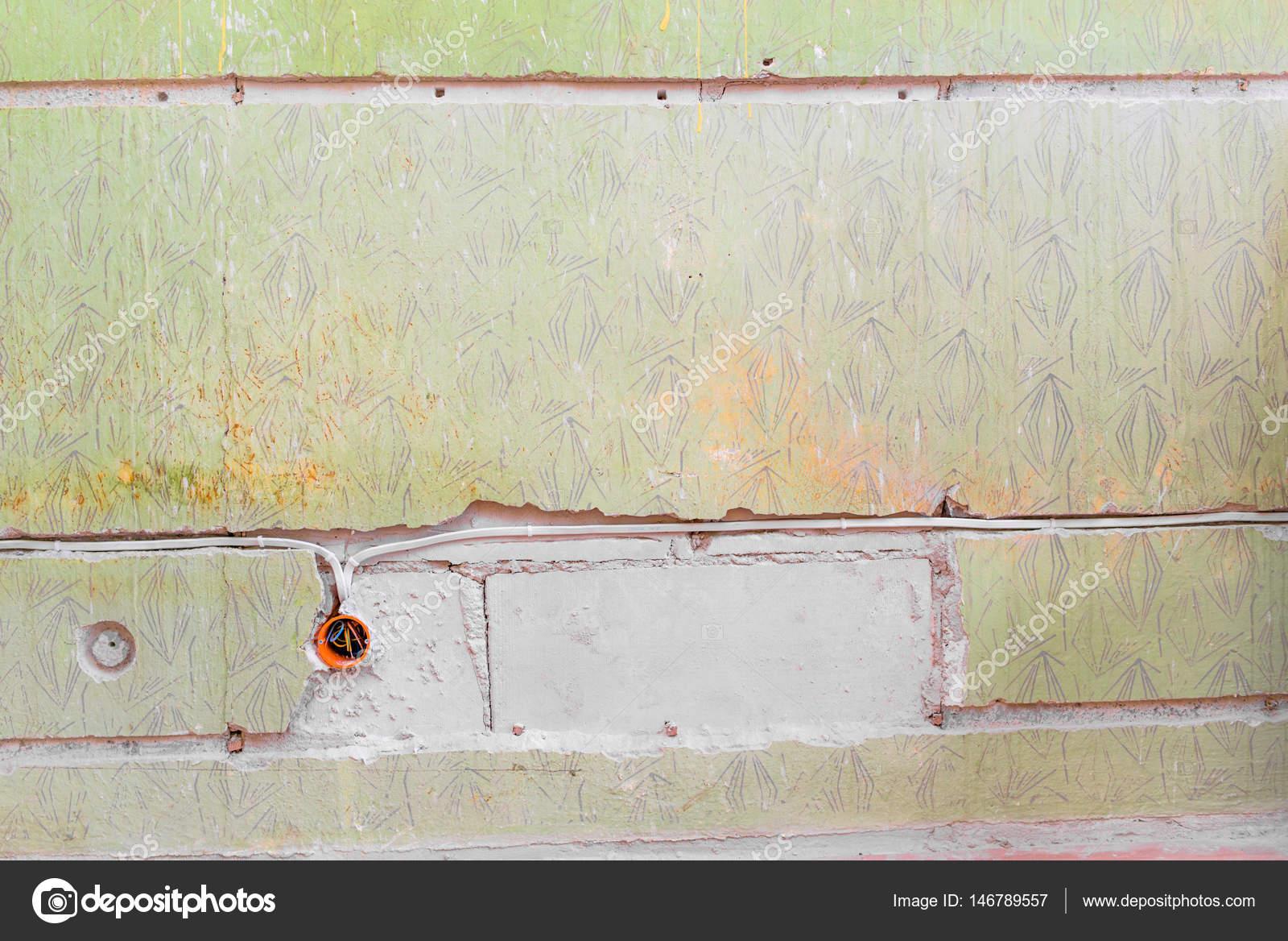Neue Elektroinstallation, Socket Box Und Elektrische Leitungen An Der Wand,  Renovierung Konzept