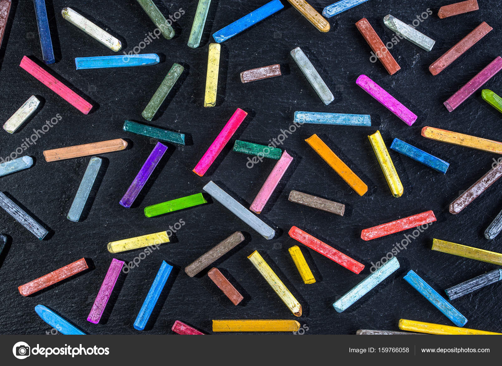 Colorful Wallpaper Pattern With Colored Chalks On Black