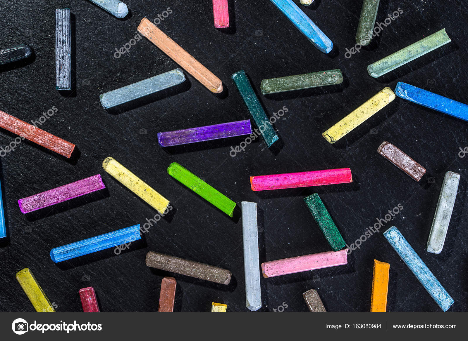 Colorful Wallpaper With Chalks Pattern On Black Background