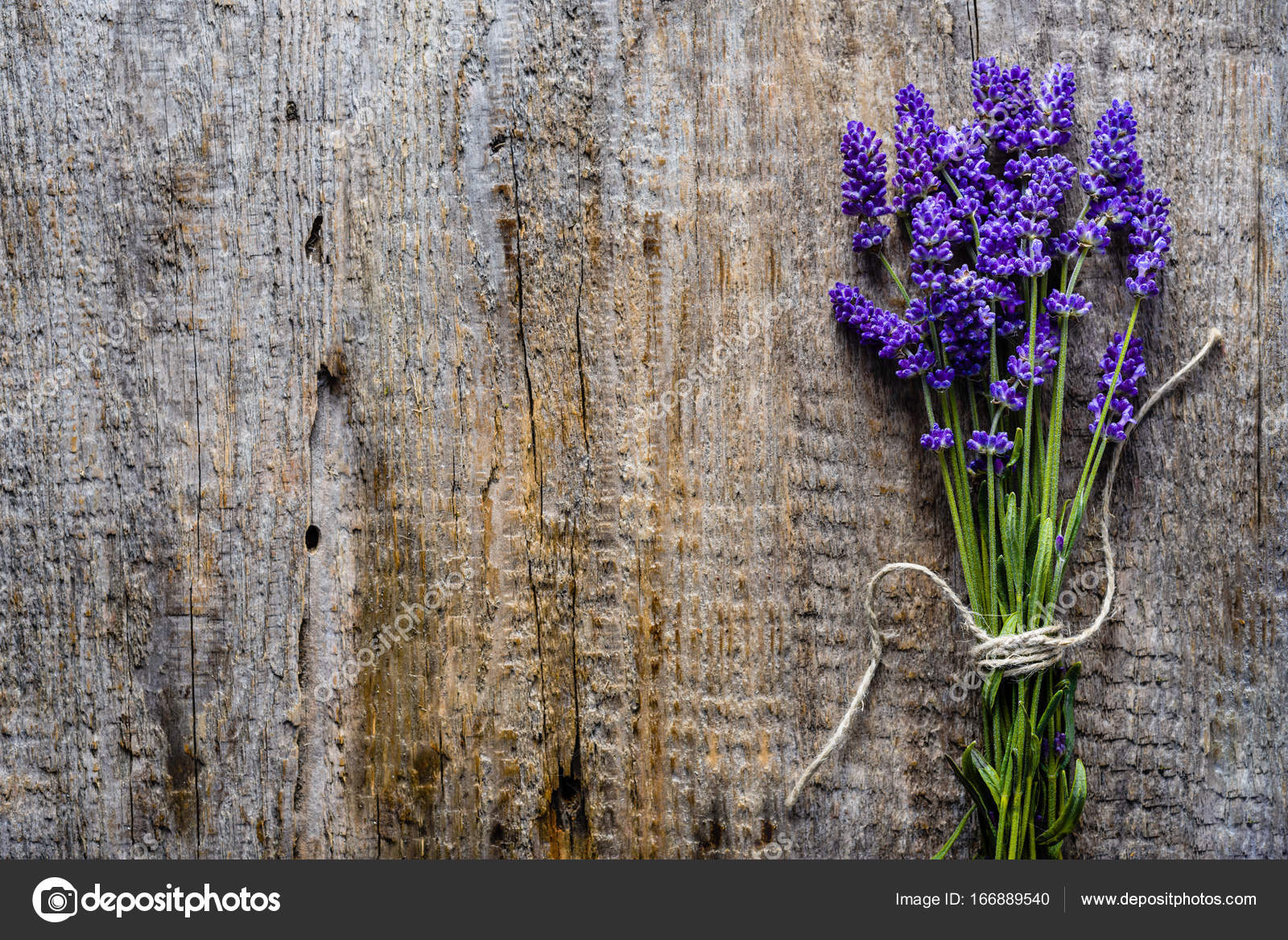 Lavender flowers, bouquet on rustic background, overhea — Stock ...