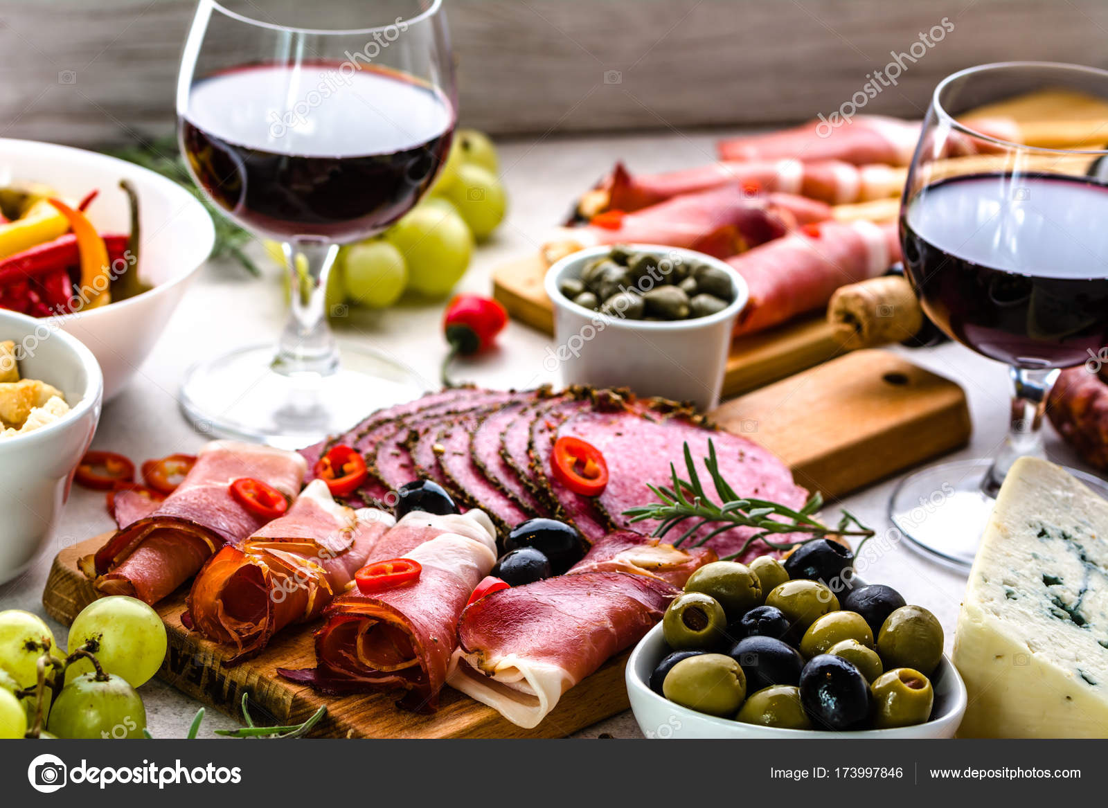 Selection Of Food Wine Snack Set On Table Italian Antipasti Prosciutto Salami Olives Cheese And Other Appetizer On Platter Stock Photo Image By C Alicjane 173997846