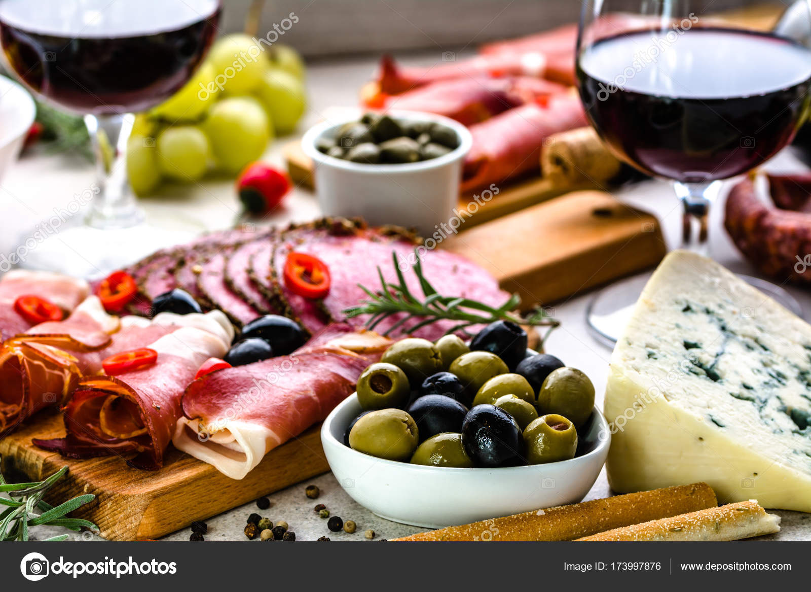 Variety Food On Table Wine Snack Set Olives Cheese And Other Appetizer Italian Antipasti On Plate Stock Photo Image By C Alicjane 173997876
