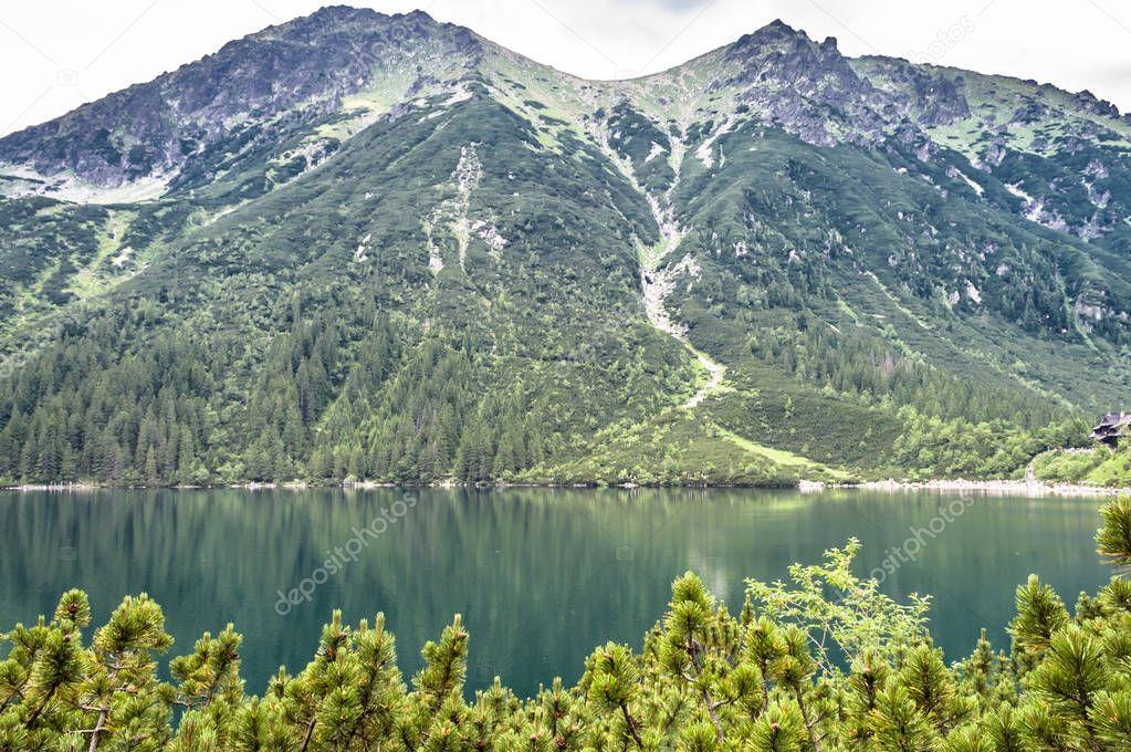 Фотообои Пейзаж горного озера с чистейшей водой в Изумрудного цвета в Татры морское око за