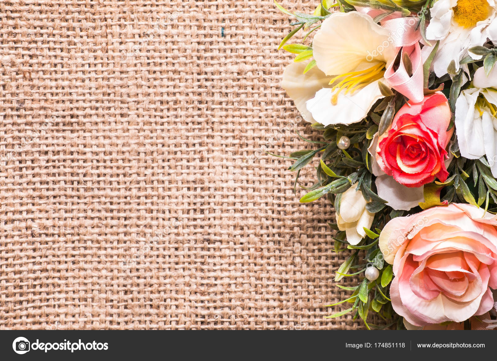 Bouquet Of Flowers On Rustic Background Useful As Wedding