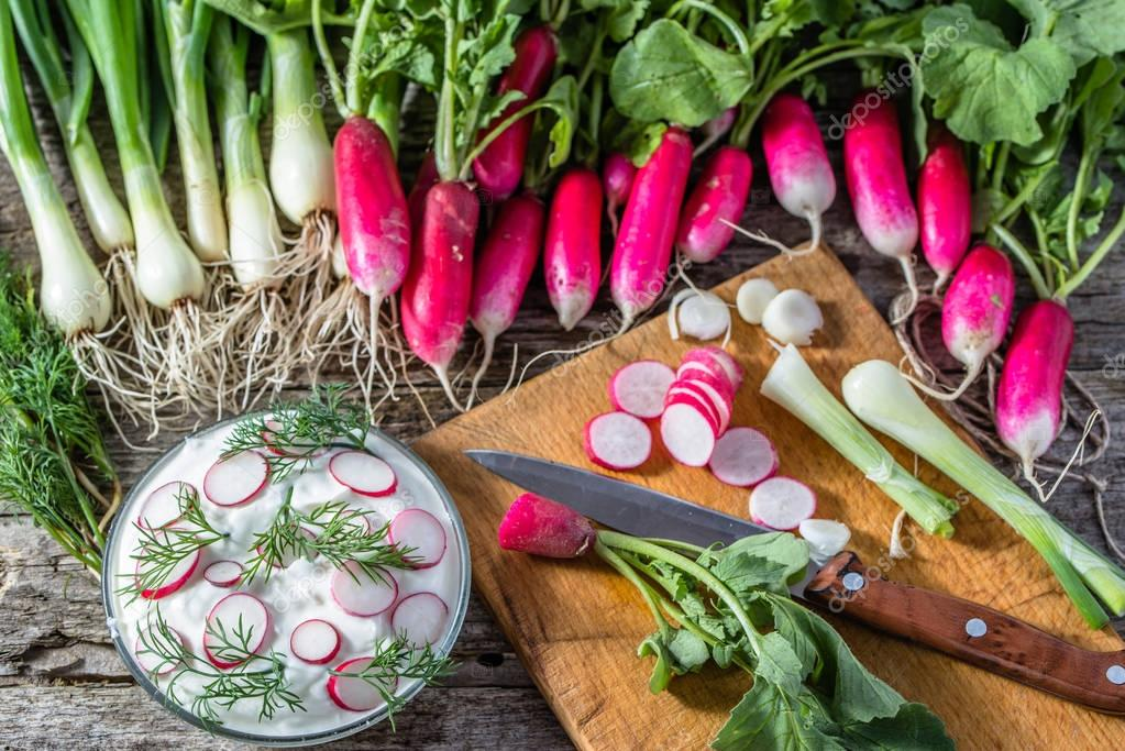 Dietary cottage cheese with radish, healthy eating, vegetarian diet concept