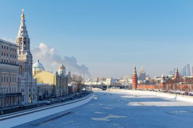Moscow, Russia - February 01, 2018: Moskva river in sunny winter day. View from Bol'shoy Moskvoretskiy bridge