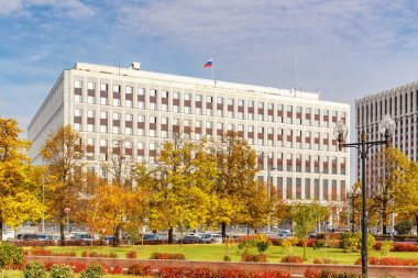 Moscow, Russia - October 03, 2019: Building of Ministry of internal affairs of Russian Federation in Moscow. View from Kaluzhskaya square in sunny autumn morning