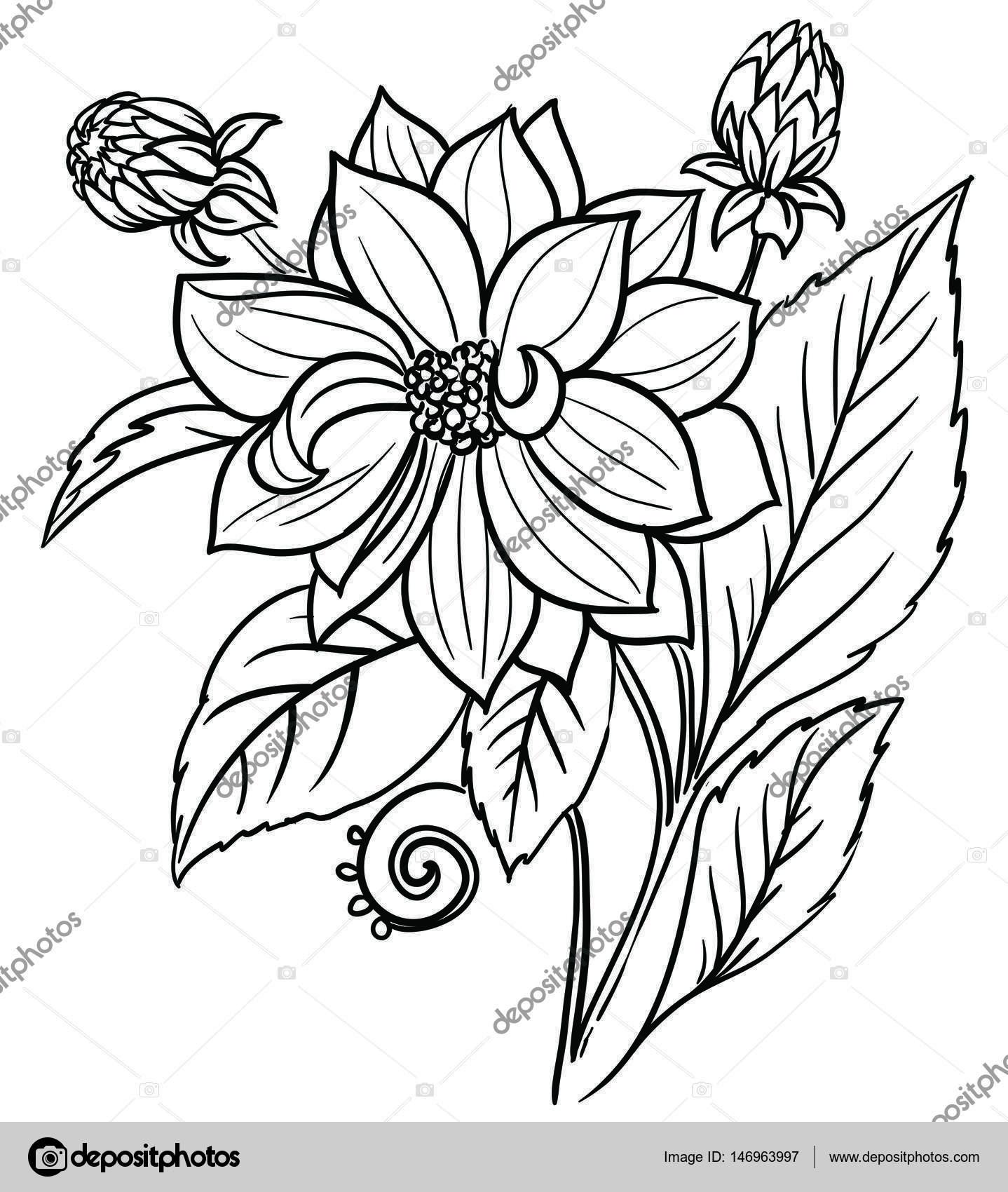 Un Bouquet De Fleurs Orné De Feuilles Et Dherbes Encre De