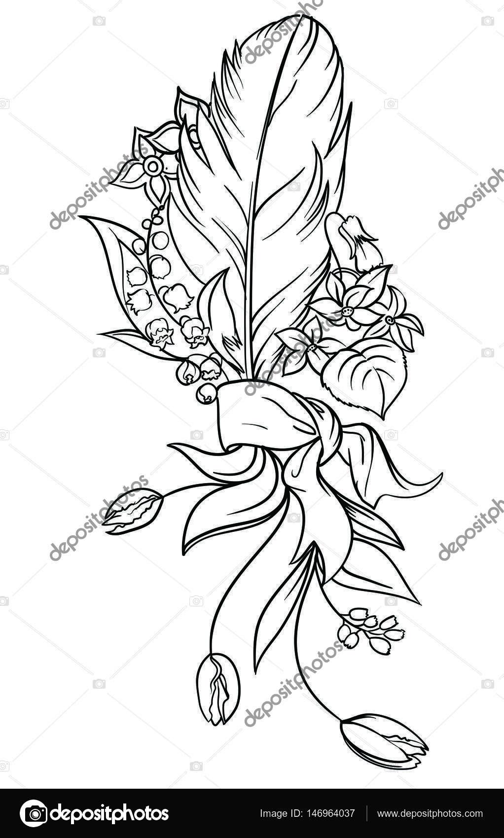 Ein Blumenstrauß mit einem Bogen und eine Feder, verziert mit ...