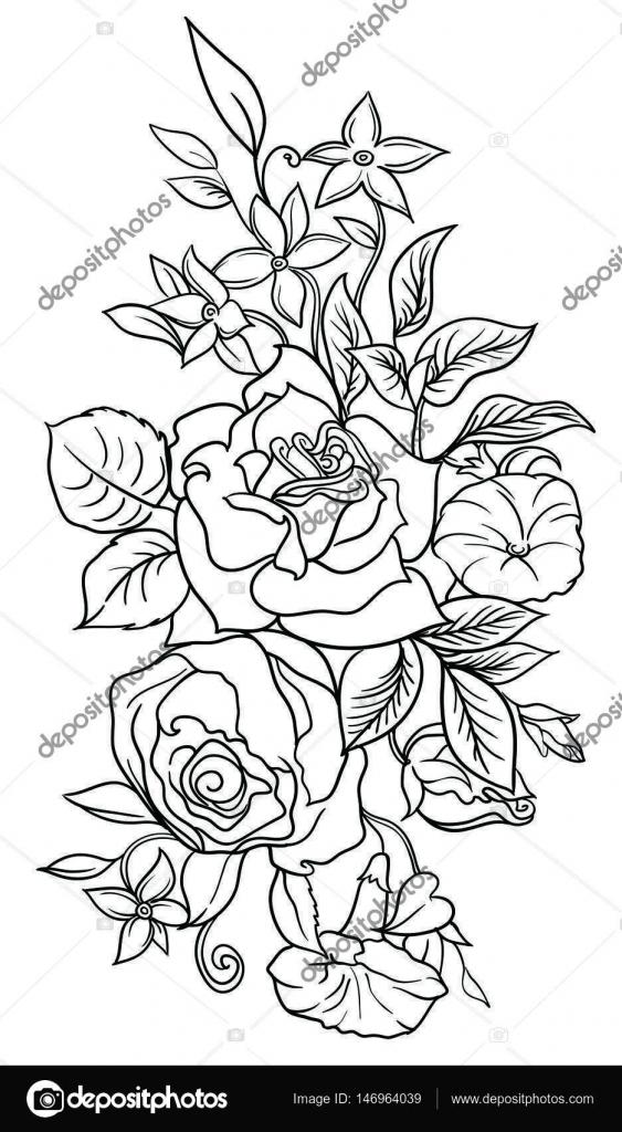Ein Strauß Blumen verziert mit Blättern und Gräsern. Zeichnen Tinte ...