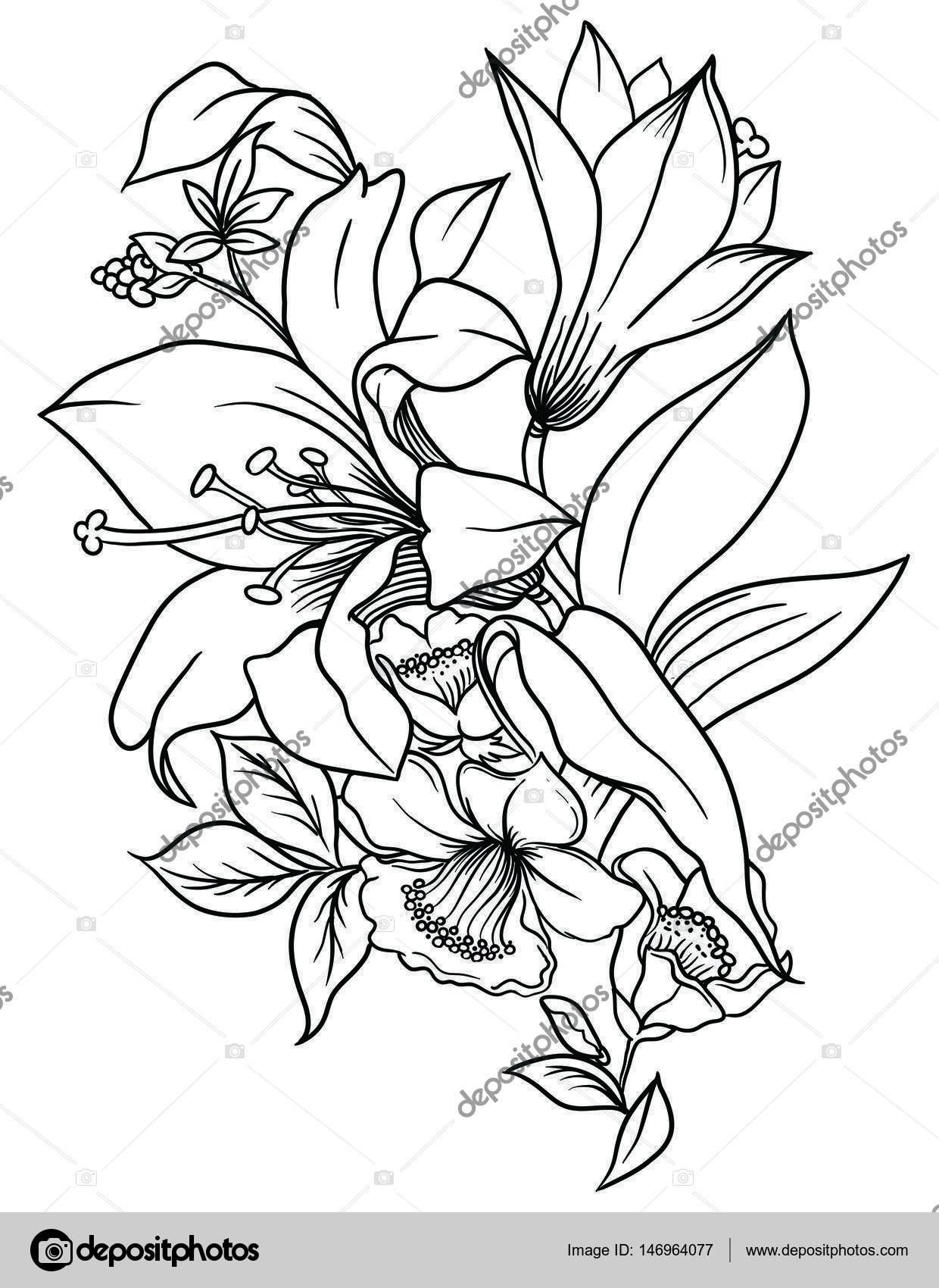Un mazzo di fiori decorati con foglie ed erba disegno for Una decorazione e formata da cinque rombi simili