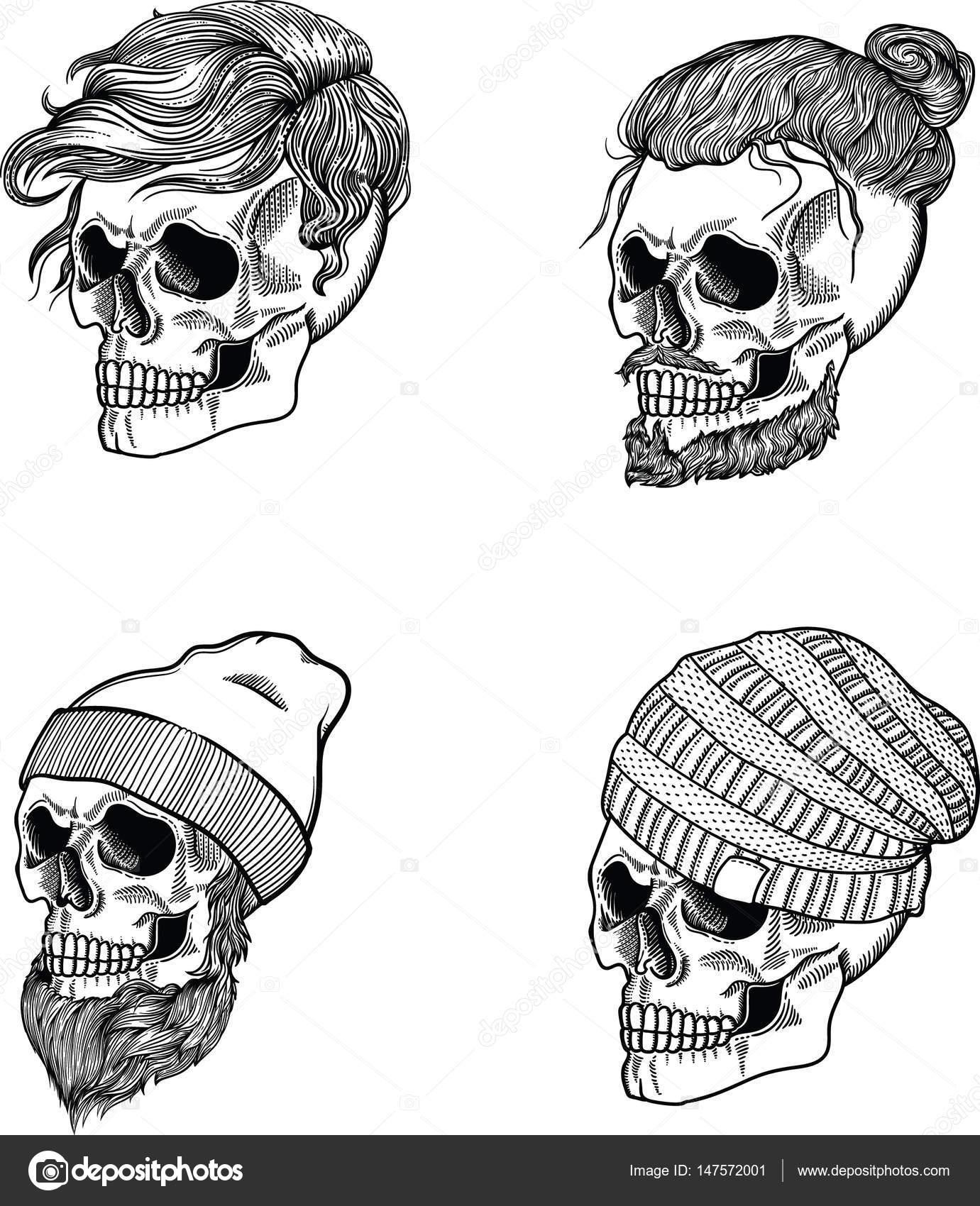 El cráneo masculino es un vegetariano. Cráneo de hombre hipster. El ...