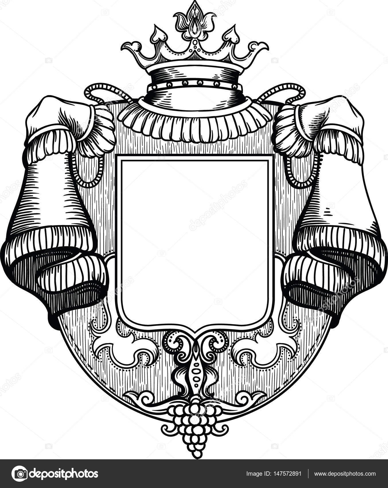 Royal, reichhaltige, luxuriöse hölzernen Wappen mit einer Krone ...