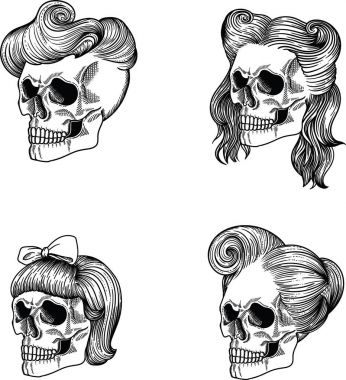Female skull girl, Female skull lady, Female skull maiden, Female skull lass, Female skull adolescent, Female skull woman, Female skull wife, Female skull old woman ,Female skull  dame. Separate on a white background, hand drawn in vector. Line style