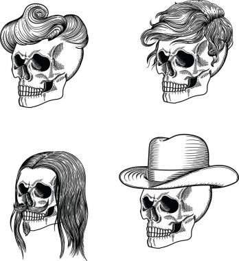 Male skull of a young man .  The male skull of Dracula. The man's skull is the lord  and overlord. The male skull of gentleman. Male skull in a cowboy hat . The male skull is a vegetarian. Male hipster skull.