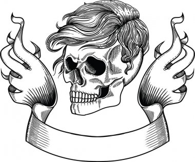 Male or famale skull with  hair  and old beautiful ribbon. Element for design in vector. It is separated from the white background. Made in the style of the line by hand