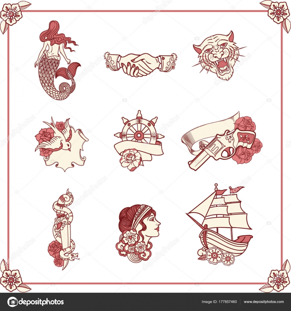 Vintage tattoos in classic old school style new traditional vintage tattoos in classic old school style new traditional tattoo style hand drawn images nautical symbols vector by virgostar buycottarizona Image collections