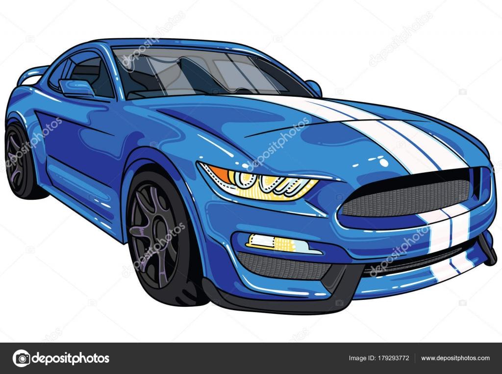 Dibujo De Coche Deportivo Azul Mustang Todas Las Ilustraciones Son F 225 Ciles De Utilizar Y