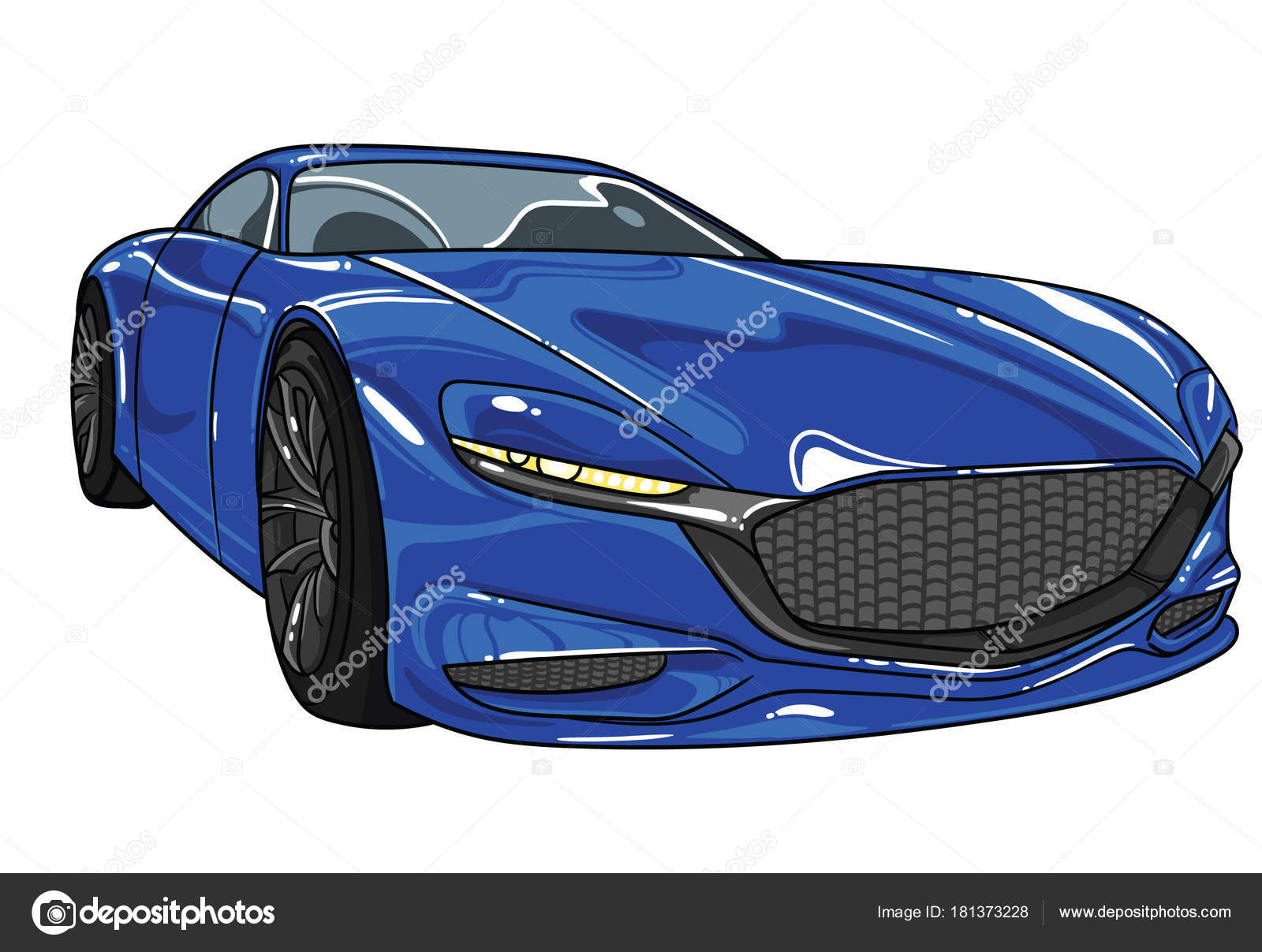 Beau Blue Color Sport Car Mazda Vector Editable Illustration . Separate On White  Background . Different Super